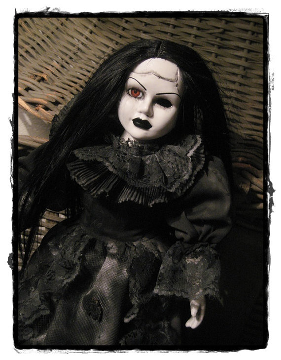 Mourning Funeral Doll with One Eye