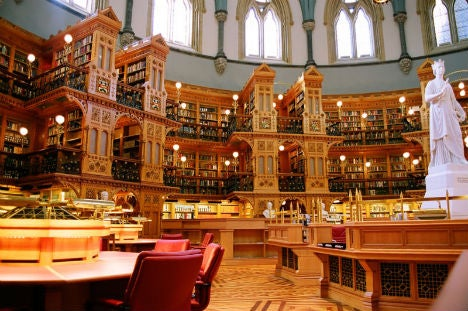 Canada's Library of Parliament was originally built in 1876 and is the only part of the Centre Block to remain untouched after a fire in 1916.