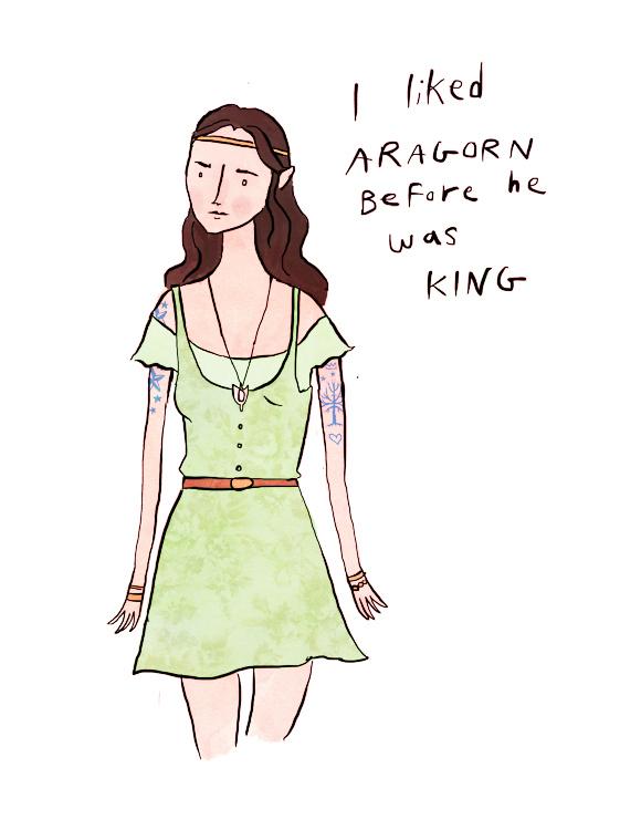 Arwen as an indie coffee-shop queen