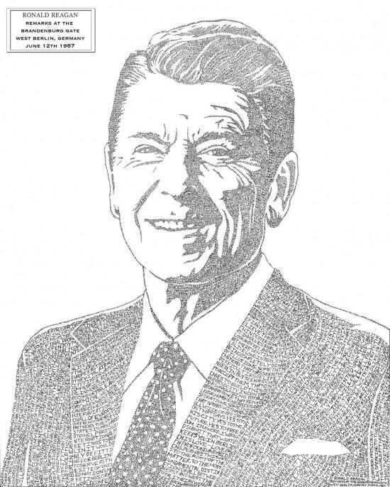 Ronald Reagan - Artwork Created Using His Famous 1987 Speech