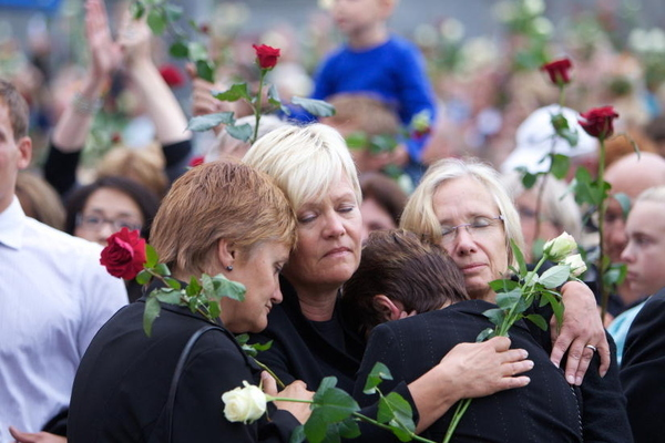 Leader of the Socialist Left Party, Kristin Halvorsen (in the middle)