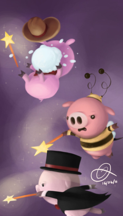 Cowboy, Bumble Bee and Top Hat Piglet
