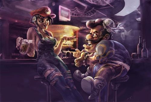Mario and Chun Li by Benryyou