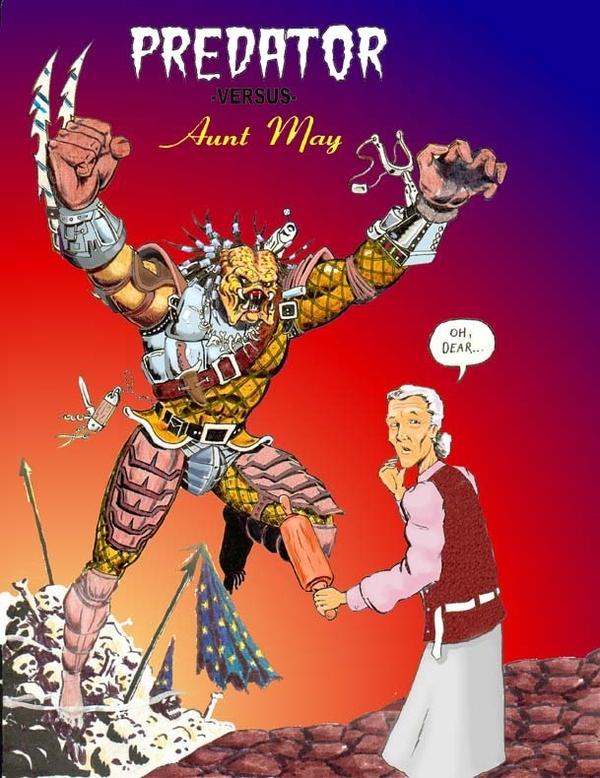 Predator vs. Aunt May by Steve Requin