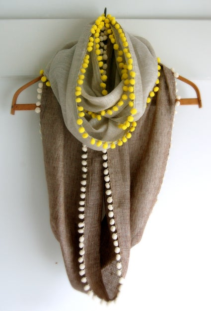 This infinity scarf is made out of linen. Check out the directions here.