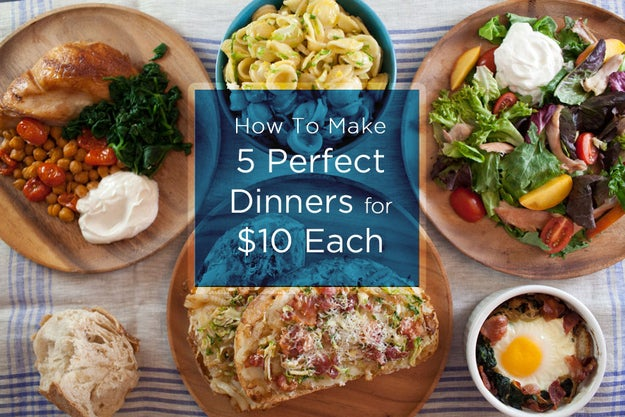 """Here are five dinners, each serving two people, that you can make for under $50 from a single grocery list. A few notes: 1. The first thing you're going to do is break down a whole raw chicken. You'll roast the breasts on Day 1 and then you'll roast the legs and thighs on Day 2. Buying the chicken whole helps keep costs down and is generally a good thing to know how to do. Use our video (below) and a sharp knife and you'll be all set. 2. The salad on Day 3 might benefit from leftover chickpeas (Day 1) if you have them, and you can use something other than a peach if that's not in season in your neck of the woods. 3. On Day 3 you'll be asked to caramelize onions. This is one of those, """"throw them on the burner right when you get home from work and let them sit there for 45 minutes as you unwind"""" kind of things. You can rush it, and the recipe will show you how. But caramelizing a big batch of onions to use in multiple meals throughout the week is a great work-week cooking hack. 4. Store your sourdough loaf at room temperature — it's okay if it's not super fresh by Day 3 and 4, because you'll be toasting it by then."""
