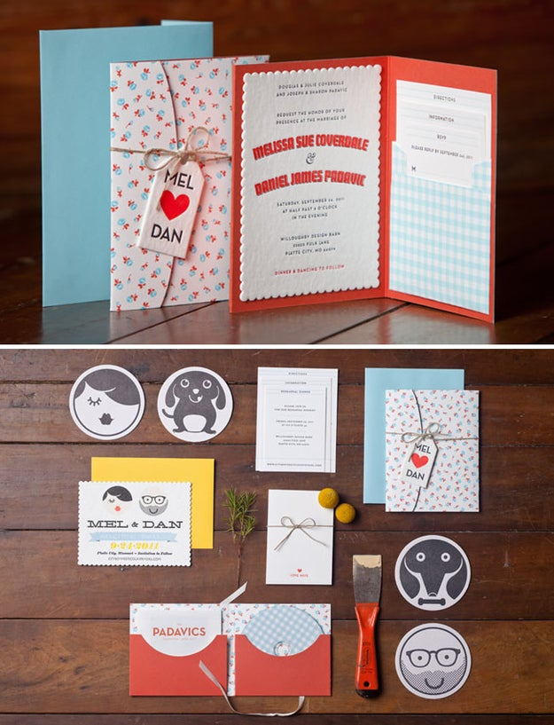 Save the date, invitation, coasters, and mix CD all designed by the groom.
