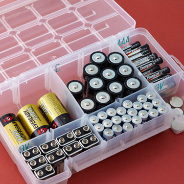 Stock up on batteries and keep them organized and protected from water damage.
