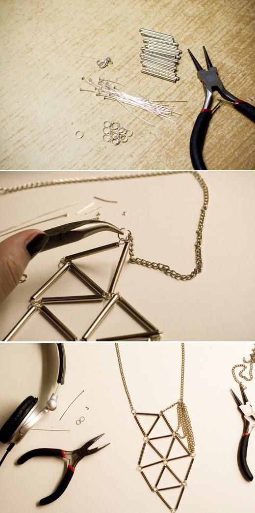 DIY Silver Bugle Geometric Necklace