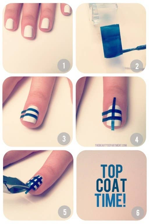 Gingham/Plaid Nails - 12 Amazing DIY Nail Art Designs Using Scotch Tape