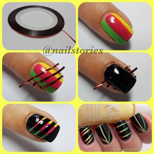 1. Tiny Stripes - 12 Amazing DIY Nail Art Designs Using Scotch Tape