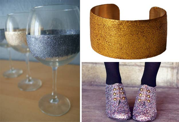 Mix the Mod Podge with glitter and paint it on stuff.(Glitter wine glass source: The Sasse Life)