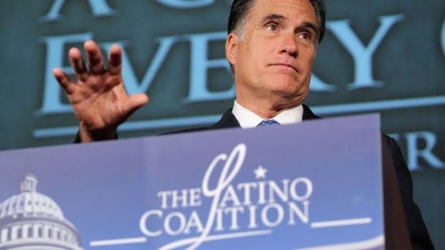 Romney speaking before the Latino Coalition last month.