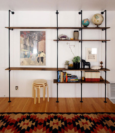 Pipe + Wood Bookshelf