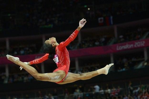 The U.S.'s Gabrielle Douglas on the balance beam.