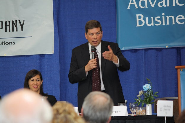 Sen. Mark Begich of Alaska, seen here at a meeting in Alaska, hosted a closed-door meeting with Senate Democrats and LGBT leaders in DC today.