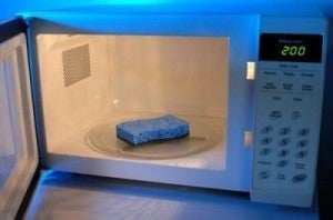 To kill the germs and viruses that have gathered on your nasty sponges, microwave on high for 2 minutes and let cool. This only works for non-metal sponges!