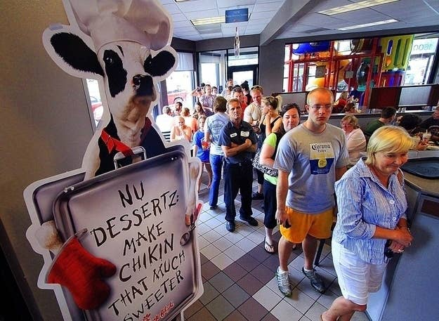 """Chick-fil-A appreciation day"" in Columbus, Georgia this summer."