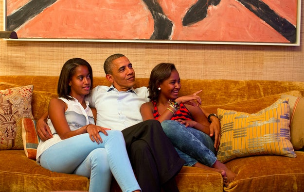 President Barack Obama and his daughters, Malia, left, and Sasha, watch on television as First Lady Michelle Obama takes the stage to deliver her speech at the Democratic National Convention, in the Treaty Room of the White House, Tuesday night, Sept. 4, 2012. (White House/Pete Souza)