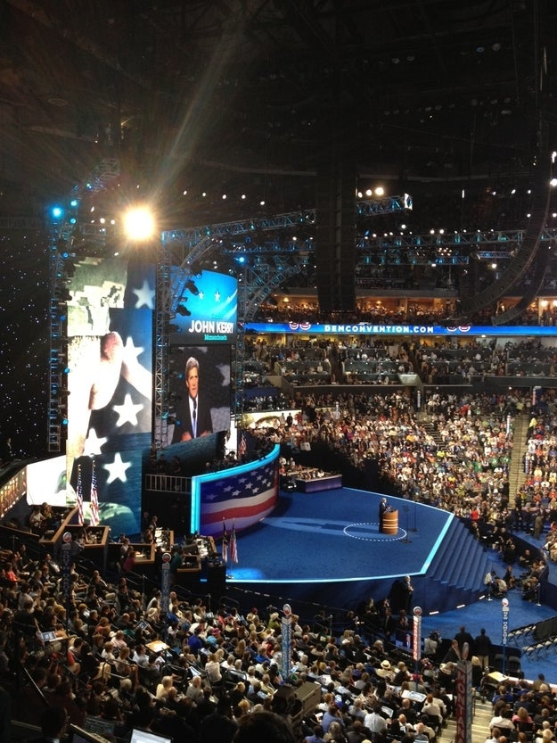 Massachusetts Sen. John Kerry, the 2004 Democratic presidential candidate, speaks to the Democratic National Convention.