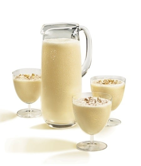[Eds. note: This is how you do eggnog right.]Ingredients:1 large grade AA egg, separated2 tsp superfine sugar1 oz heavy cream1/2 tsp pure almond extract1/2 tsp pure vanilla extract1 1/2 oz Mount Gay rumdashes of grated cinnamon and nutmeg for garnishInstructions:1. Separate the egg into two bowls.2. Beat the yolk until stiff.3. Beat the white with 1 tsp. sugar until peaks form.4. Slowly fold the white and yolk together.5. Separately, beat the cream with the almond, vanilla, and 1 tsp. sugar in a bowl until stiff.6. fold in the cream with the egg mixture.7. Add Mt. Gay and stir gently.8. Refrigerate overnight, or serve immediately over ice in a punch glass or martini glass.9. Garnish with grated nutmeg and cinnamon.Or, if you're less ambitious, just use store-bought eggnog, mix with rum (preferably Mt. Gay, not just because of the name, but because it's delicious), garnish with nutmeg and cinnamon.
