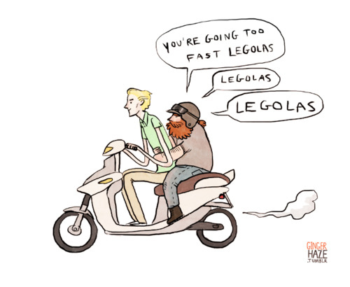 Legolas and Gimli have a Roman Holiday moment on a loaner moped.