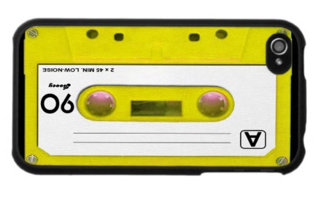 iPhone 4 / 4S Case: Bright Yellow Plastic Cassette Tape