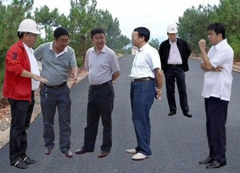Jamming with fellow photoshopped Chinese officials .