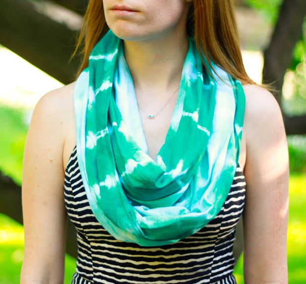 You'll need a couple yards of fabric, dye, rubber bands, and this helpful tutorial.