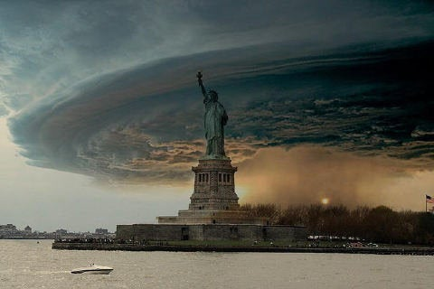 A photoshop job of the Statue of Liberty and a supercell thunderstorm from 2004 taken by photographer Mike Hollingshead.