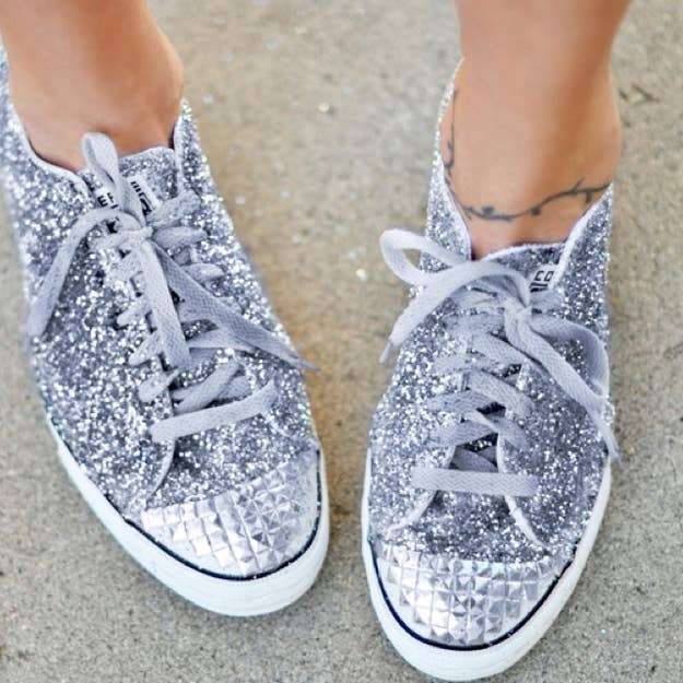 cc2bd9781159 Coat your sneakers with a layer of glue and glitter. To create a faux steel