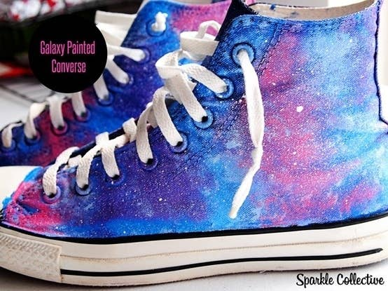 Tape up the bottoms to protect your soles, then paint with brushes and a sponge for a star-filled galaxy look, as done in this blog post.