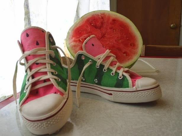 Decorate them to look like watermelons inside and out-- all you need is permanent markers according to this crafter.