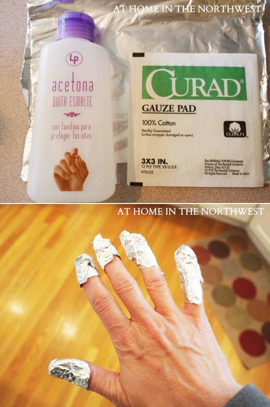 Get the full directions here. This is also a quick way to remove glitter nail polish.