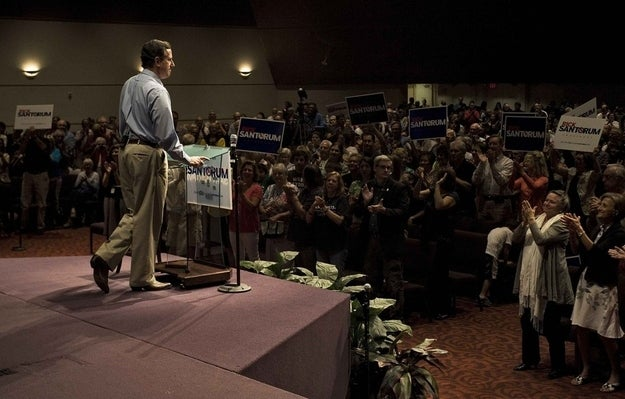 Rick Santorum campaigns at the First Baptist Church in Naples, Florida. (Reuters)