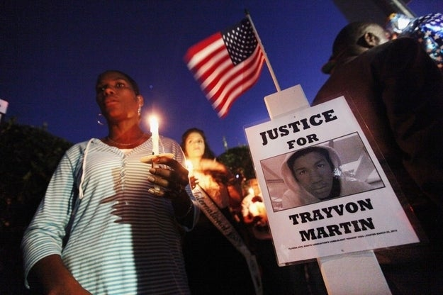 The scene at a memorial to Trayvon Martin near where he was killed.