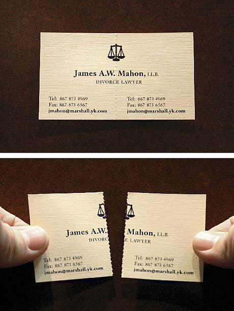The most creative business cards you will ever see perforated cards demonstrate what a separation lawyers does reheart Gallery