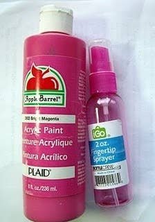 You can make your own small batch spray paint: mix two parts acrylic paint with one part water in a spray bottle.