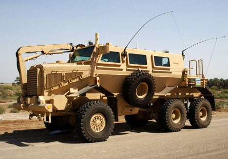 The Buffalo Mine Protected Vehicle. Thanks to a V-shaped hull this beast can survive direct mine explosions and still protect occupants inside.
