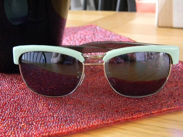 Three layers of mint nail polish + one coat of clear polish = a $5 version of these $114 Juicy Couture frames.
