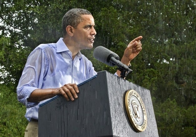 Image result for obama at podium in rain