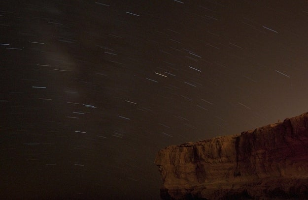 This long exposure shows stars in the night sky during the Perseid meteor shower near Mitzpe Ramon in the Negev Desert, southern Israel, Sunday, Aug. 12, 2012.