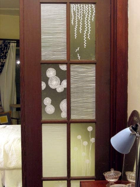 contact paper on furniture. create window films with contact paper and paint pens on furniture
