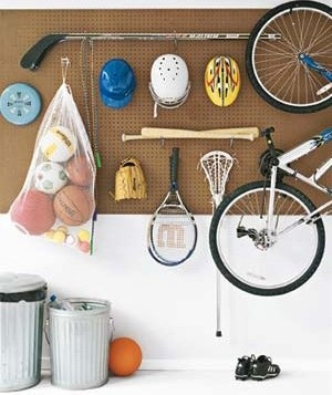 Hang a Pegboard with Movable Hooks to Organize Kids' Sports Gear