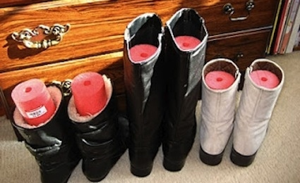 Cut Up a Pool Noodle and Place in Boots to Keep Them Upright