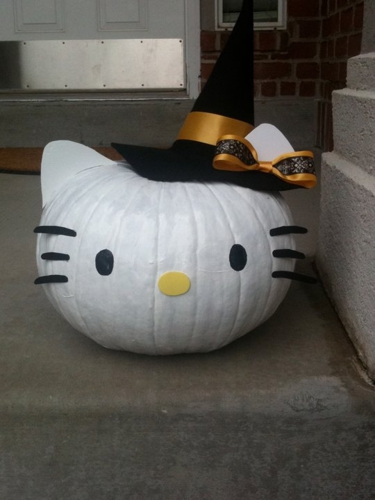Halloween Pumpkin Designs Without Carving Part - 16: Or You Could Go The Hello Kitty Route.