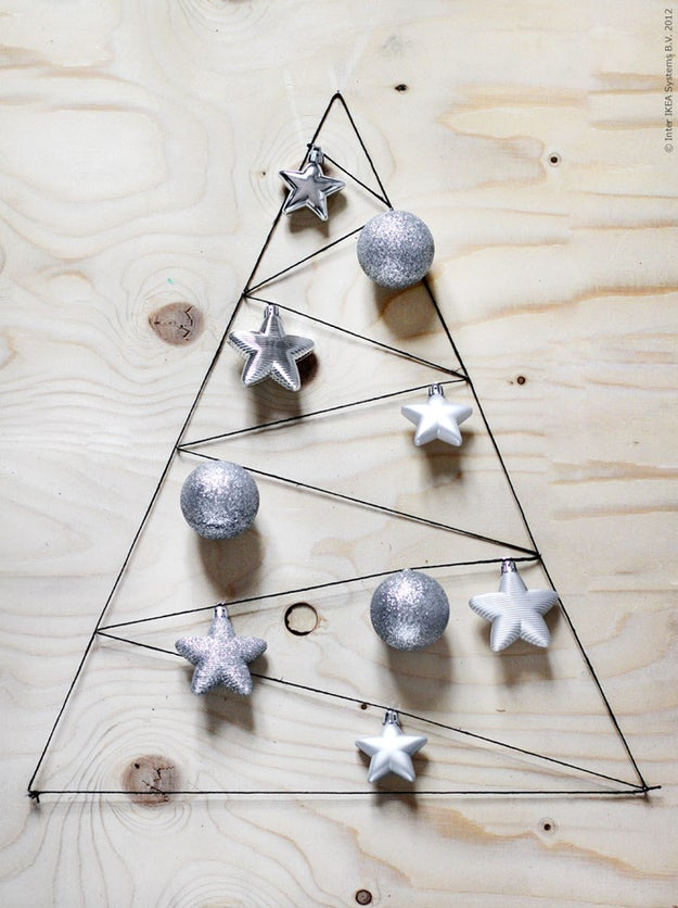All you need is some string and a few nails to make a lovely minimalist tree decoration.