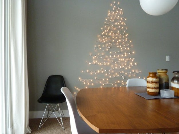 Christmas Tree On Wall With Lights 38 fabulous diy christmas trees that aren't actual trees