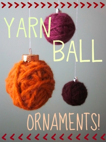 Make ornaments out of balls of yarn.