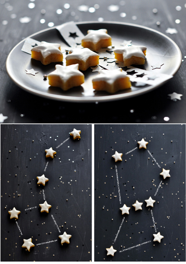 Paint a tray with chalkboard paint and serve with star-shaped cookies.